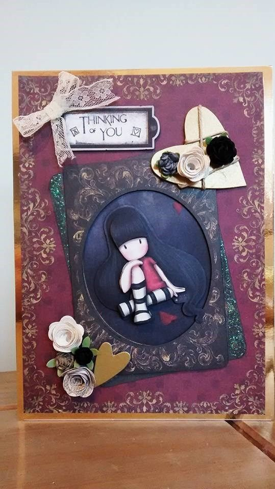 Handmade 'Thinking of You' card. Made with the Santoro's Gorjuss collection.
