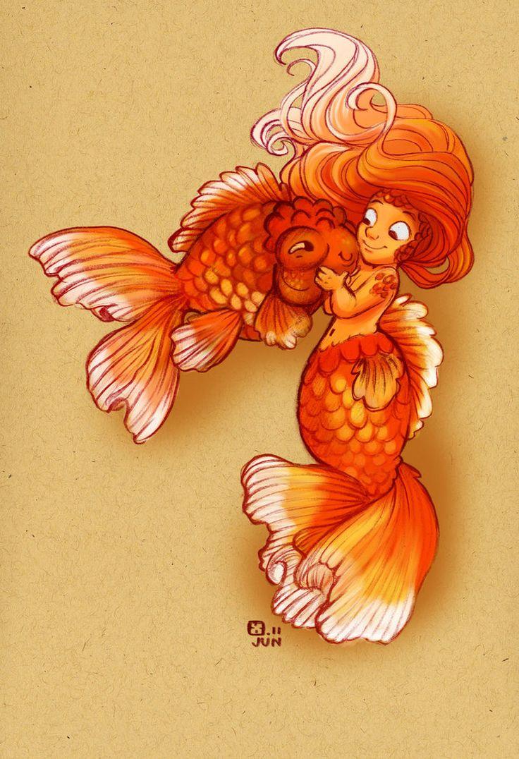 GoldfishGoldfishbettasand Aquariumsoh, Girls Generation, Dinky Goldfish, Fantasy Art, Fantail Goldfish, Goldfish Girls, Goldfish Art, Goldfish Mermaid, Drawing Drawing