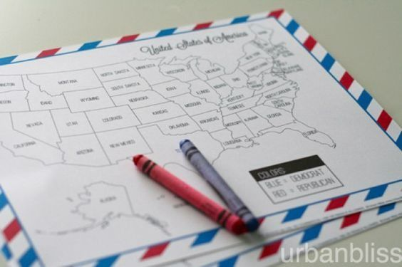 Involving Kids in Election Night with FREE Printable Election Coloring Map   Homeschool Giveaways