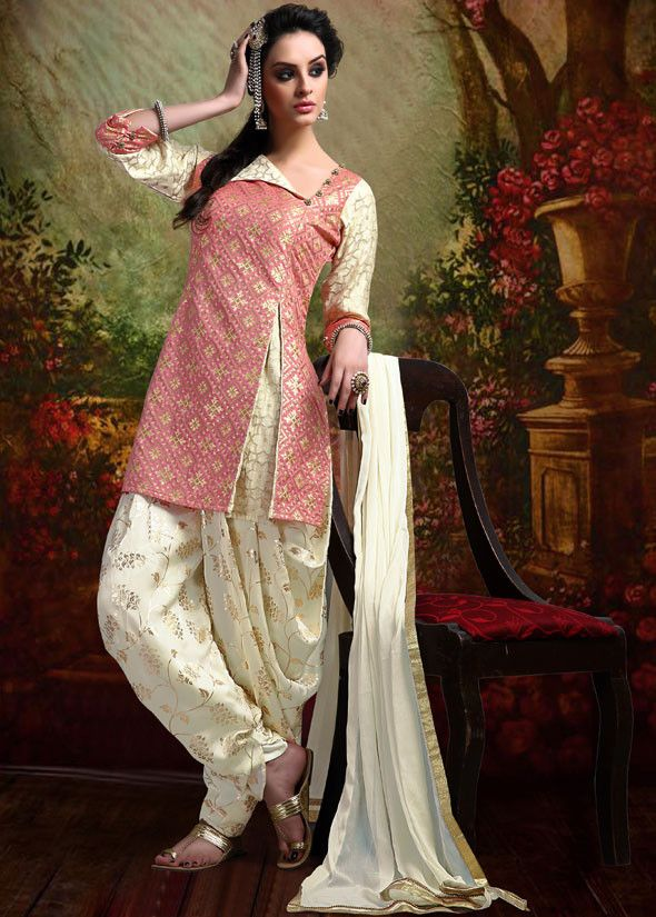 Plush Pink and Cream Readymade Patiala Suit