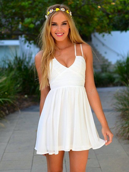 white beach dress , awesome on tan skin with beachy waves and flower crown