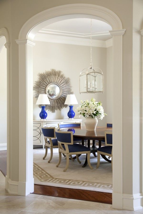 Beautiful Blue Dining Rooms: Greige Dining Room Walls, Creamy White Trim, Blue Accents