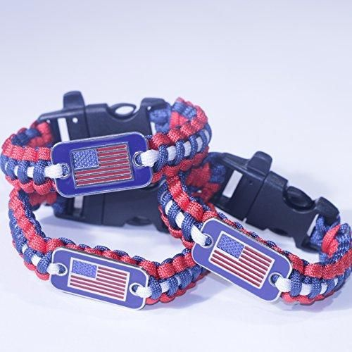 Paracord Survival Bracelet for Patriots - Paracord 550 + Emergency Whistle  When deployed in an emergency or survival situation it becomes over 10ft of Paracord with 550lb breaking strain *MORE CORD: Cord can be separated to create 70ft of strong thin string *WHISTLE: Emergency whistle built into the buckle to summon help or contact lost friends or dogs *USES: Medical Emergency, Shelter Building, Trap, Repair Outdoor Gear *PATRIOT? Show the world you love the USA by wearing a Stars and…