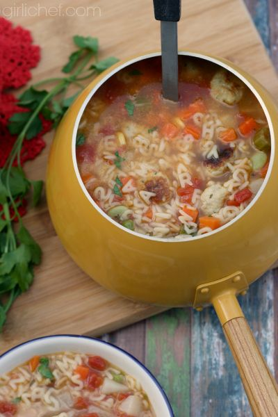 Alphabet Veggie Soup with Mini Chicken Meatballs via @girlichef