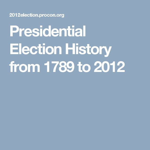 Presidential Election History from 1789 to 2012