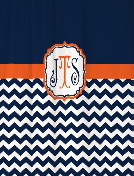 Navy And Orange Shower Curtain Shower Curtain Orange Blue Print