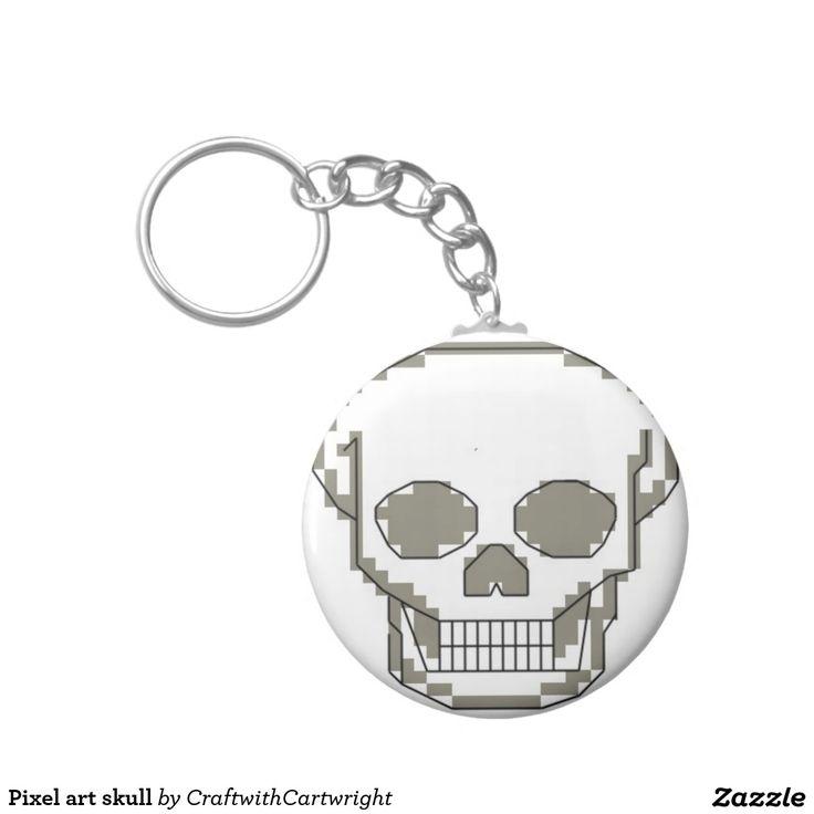 Pixel art skull key ring £2.60