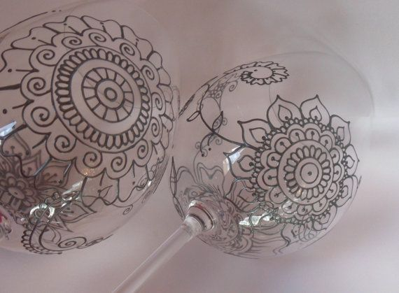 Wedding glassware One of kind wine glasses hand painted by MehndiGlass dishwasher safe, crystal glass