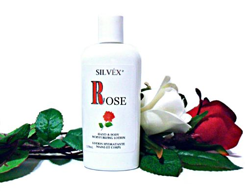 The natural lotion moisturizes and improves skin tone and elasticity. Enriched with Vitamin E and Rosemary Leaf Extract. Formulated with a delicate essence of true rose.  Silvex Rose Hand and Body Moisturizing Lotion, enriched with natural ingredients and vitamins, is especially formulated for normal to very dry skin. Moisturizing active agents provide effective and long-lasting moisture and protection.  Its fast absorbing formula is ideal for daily use.
