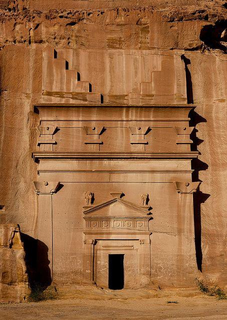 Nabataean grave in Madain Saleh - Saudi Arabia    Madain Saleh in Saudi Arabia, a sister city to Jordan's Petra.