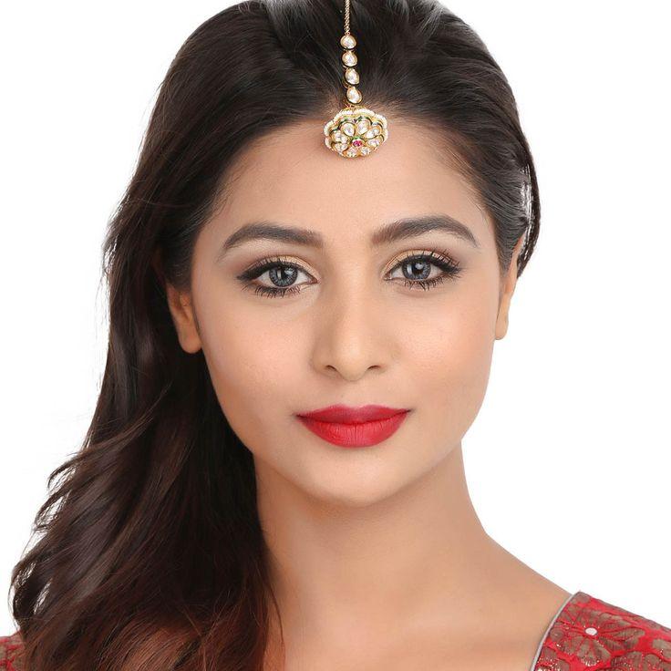 Kundan Tikka 51954 #Kushals #Jewellery #FashionJewellery #IndianJewellery #WeddingAccessories #Maang Tikka #Kundan
