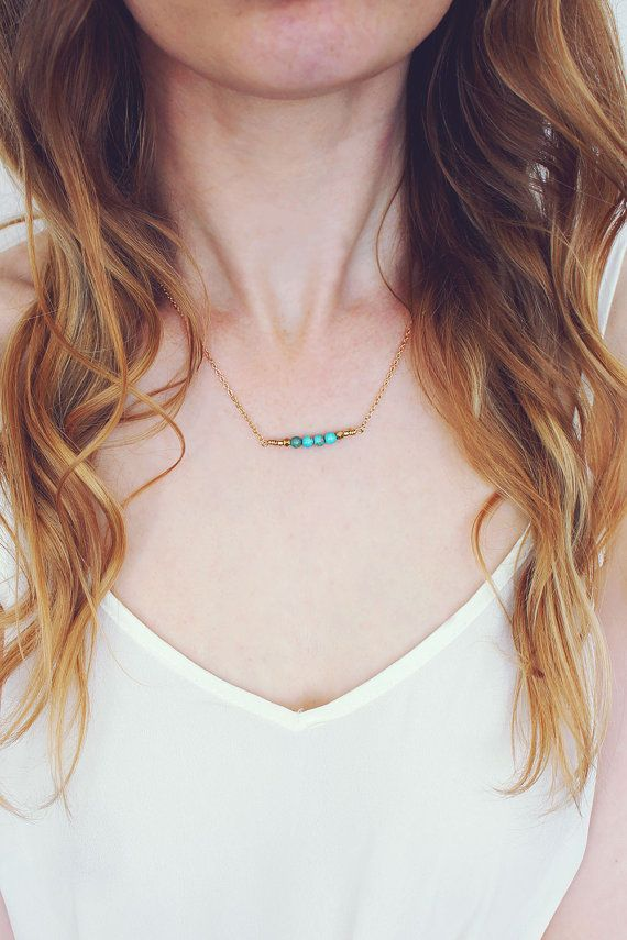 Hey, I found this really awesome Etsy listing at https://www.etsy.com/listing/240203800/turquoise-bead-bar-necklace-turquoise