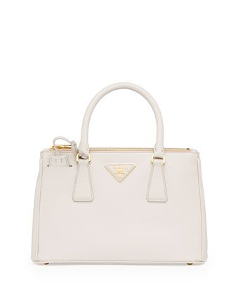 Mini Saffiano Lux Tote Bag, White (Talco) by Prada at Bergdorf ... - prada shoulder bag bronzo+nero+bianco