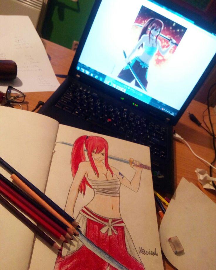Erza, Fairy Tail, anime, draw, fanart, manga, girl