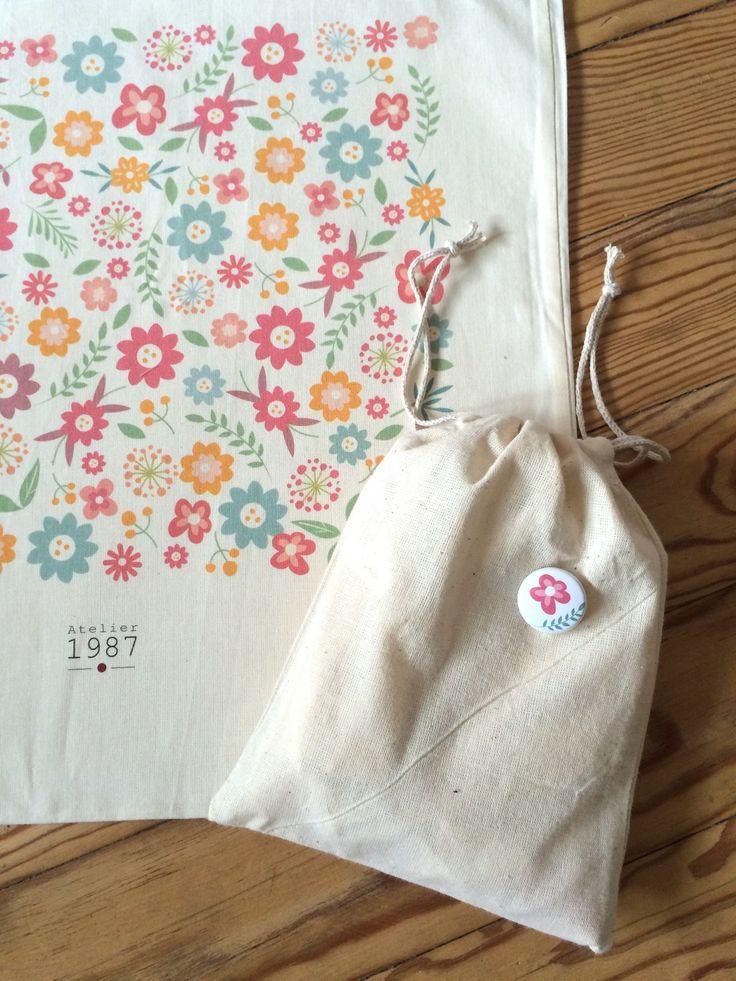 Tote bag coton Liberty : Sacs à main par atelier1987