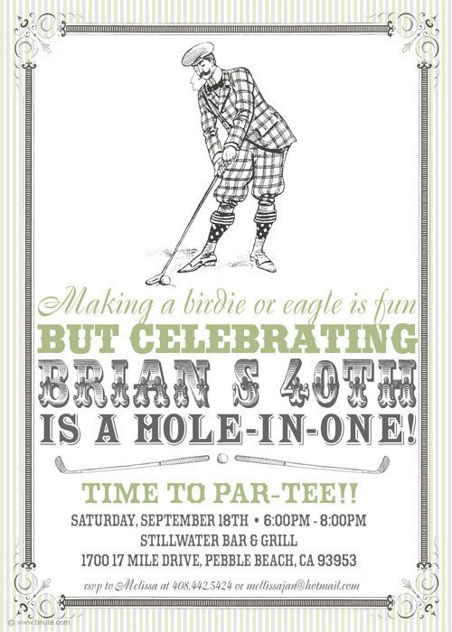 Vintage Golf Party Invitation - Birthday, Shower, Any Occasion, Man or Woman. $16.00, via Etsy.