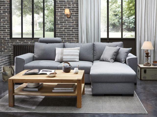 canapé gris et table basse en bois