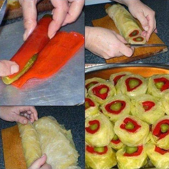 Kupus krastavci paprika - dekorativna salata