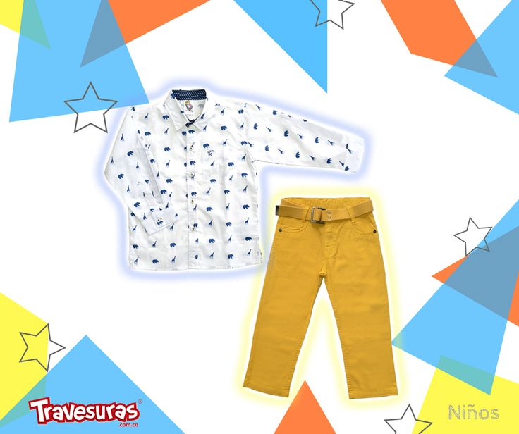 Los colores llamativos en pantalón siguen vigentes y se combinan fácilmente con una camisa de tono claro que trae motivos estampados que a tu pequeño le encantarán.