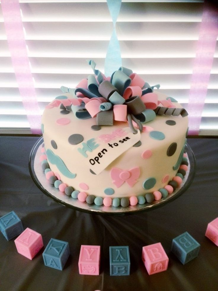Gender reveal cake. Cute for a baby shower! :)