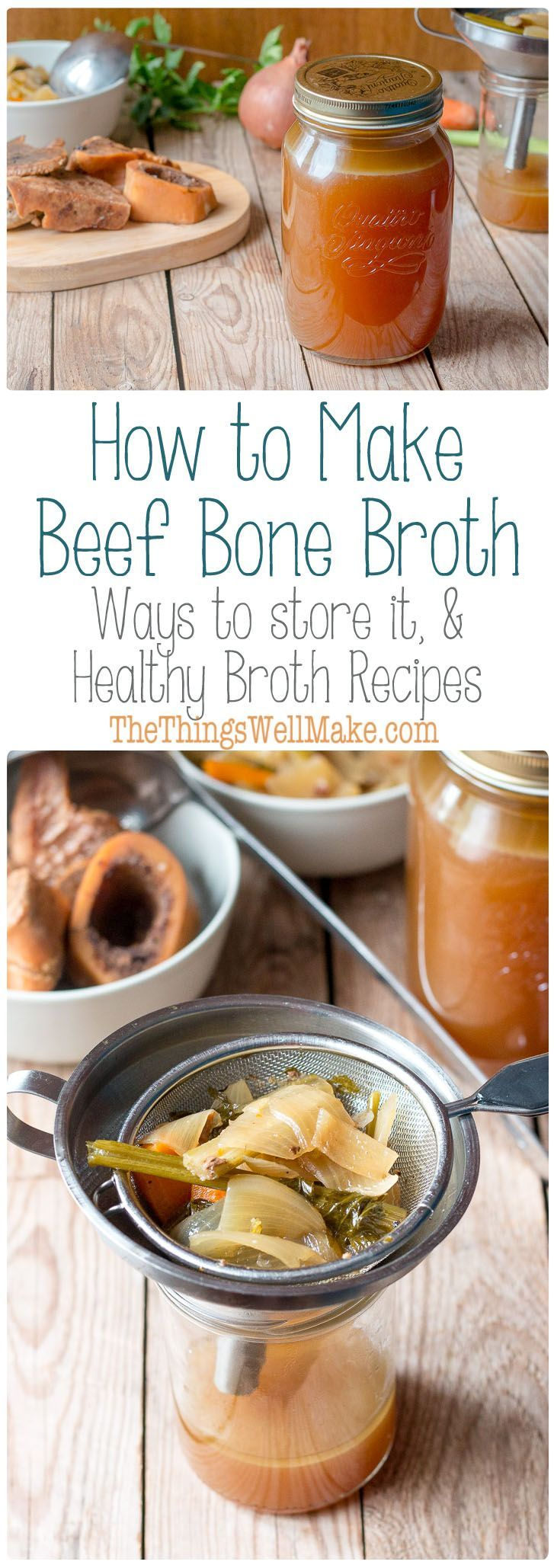 How to make beef bone broth, storage tips, & recipe ideas. Nourishing, paleo, healthy broth, beef stock.