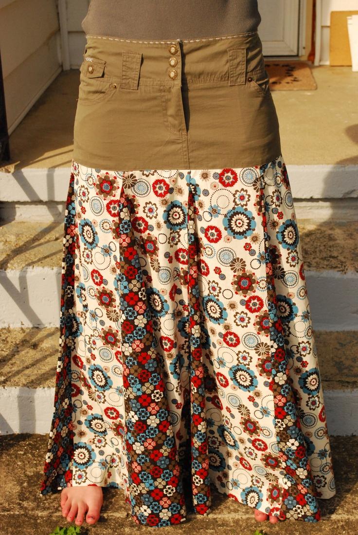 Green Khaki Size Large NIKIBIKI Upcycled Jean Skirt. $35.00, via Etsy.