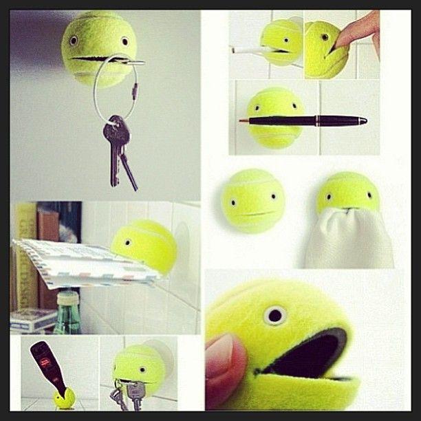 Diy key holder out of a tennis ball! #easy #quick #simple #diy #keys #tennis #ball #followers #loveit #organize #house