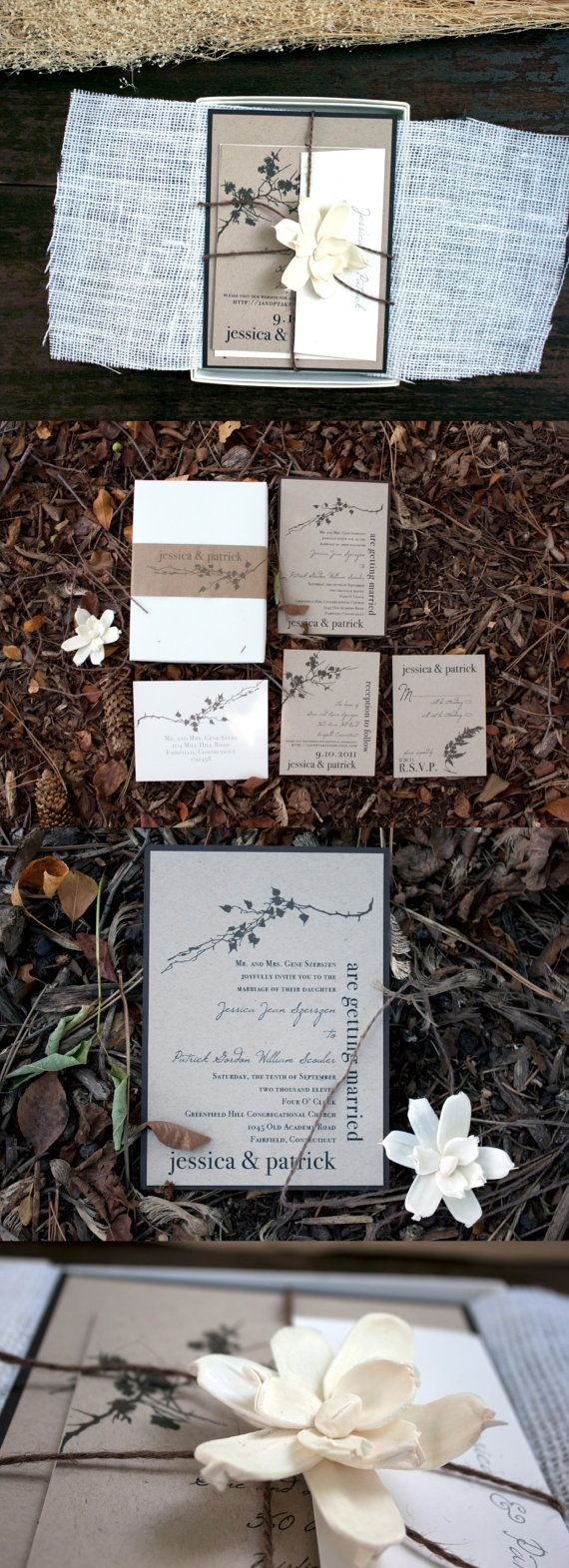 Ivory Romance - Rustic, Chic, Elegant Boxed Wedding Invitation With Burlap, Flower - Purchase for a Sample. $14.50, via Etsy.