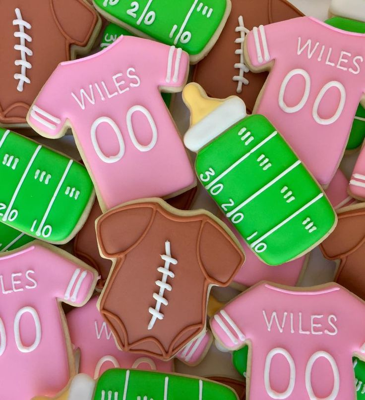 Baby girl football themed baby shower cookies (Basketball Cookies)