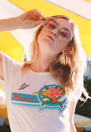 Vintage+70's+Hawaii+Graphic+Girl+Tee+Shirt