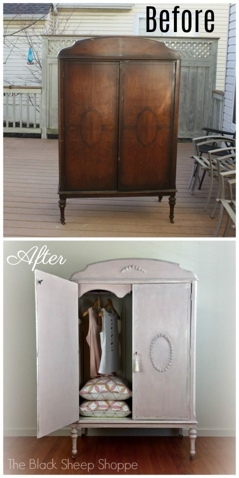 This unloved armoire was given a soft romantic look with Chalk Paint and handmade furniture appliques.