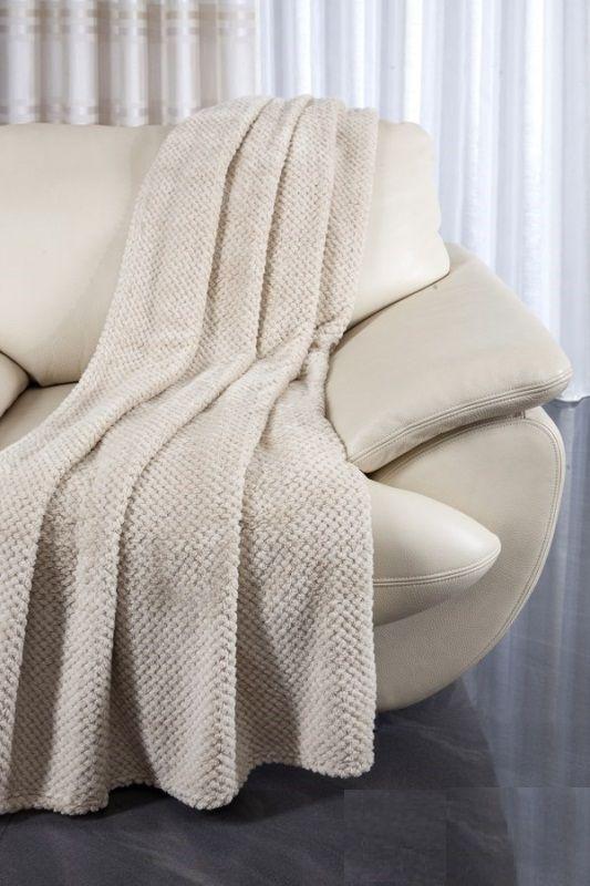 Beżowy przeplatany komplet na wersalkę i fotele