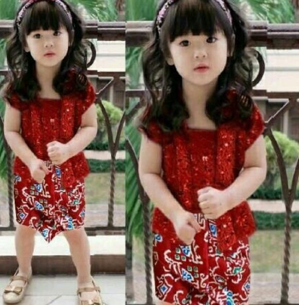 Model Batik Anak Cewek Kombinasi Gaun Gadis Kecil Fashion