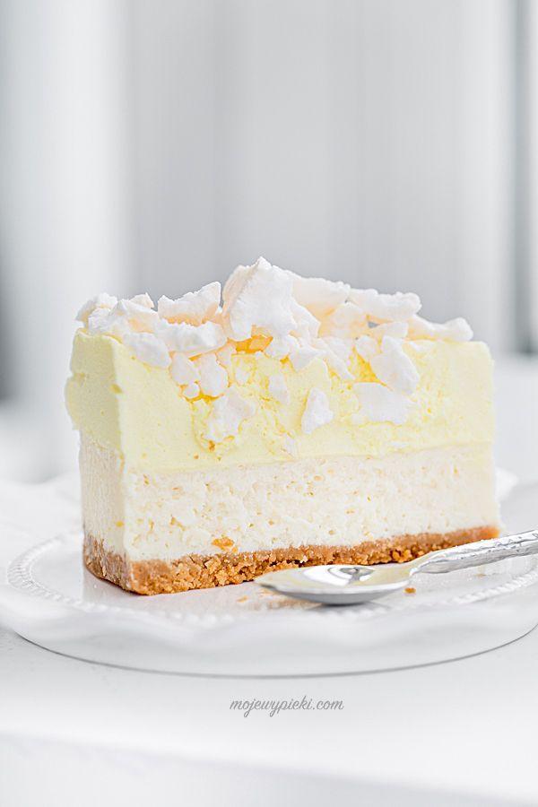 Tvarohový koláč s citronovou pěnou a pusinky