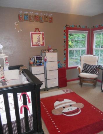 Cute sock monkey baby room