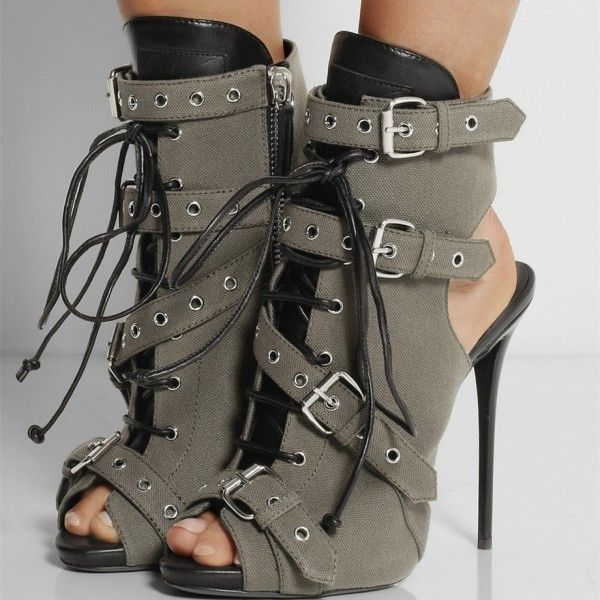 Women's Fall and Winter Fashion Ankle Booties Fall Fashion 2017 Trends Grey Lace Up Stiletto Heels Boots Peep Toe Slingback Ankle Booties with Buckles For Night Club Fall Fashion Street Style Outfits 2018 , Music Festival | FSJ