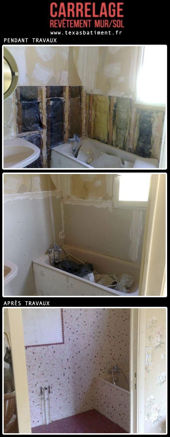pose de carrelage murs et sol dans la SDB // TEXAS Bâtiment - Tél 0141810290