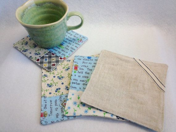 """Set of 4 Coasters Patchwork Sewing Hand / blue - 4.3"""" * 4.3""""(11*11cm)  by YuminaCafe, ¥1200"""