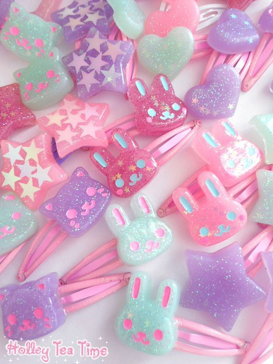 Decora fashion, hair, accessories, clips, fairy kei, kawaii | Fairy kei style | Pinterest