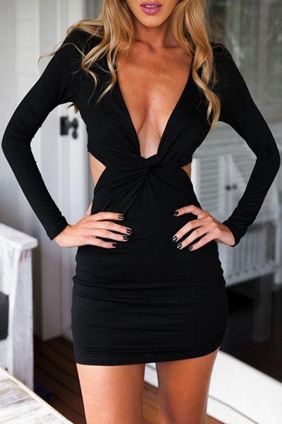 Long Sleeve Front Twist Cut Out Club Dress BLACK: Club Dresses | ZAFUL