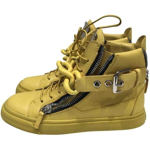 Pre-owned Giuseppe Zanotti Leather Trainers (136.260 CLP) ❤ liked on Polyvore featuring shoes, sneakers, yellow, real leather shoes, leather sneakers, yellow shoes, giuseppe zanotti trainers and leather footwear