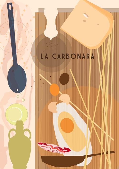 La Carbonara, progetto di ricette illustrate per libro di cucina o schede illustrate, Stregattodesign 2012