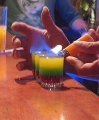 Flaming bob marley drink in Ecuador bar. I'm having one for sure