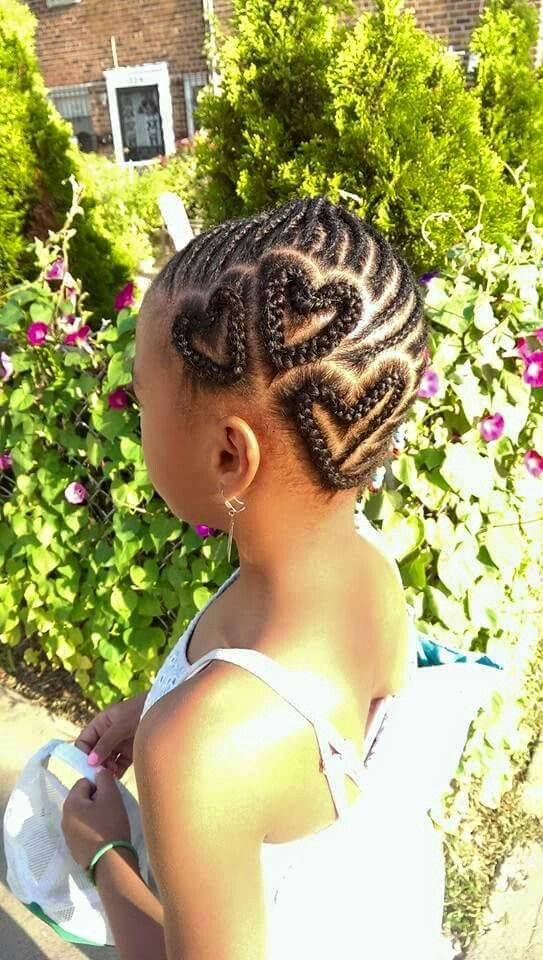 Braided hearts and cornrows, kid's hairstyle