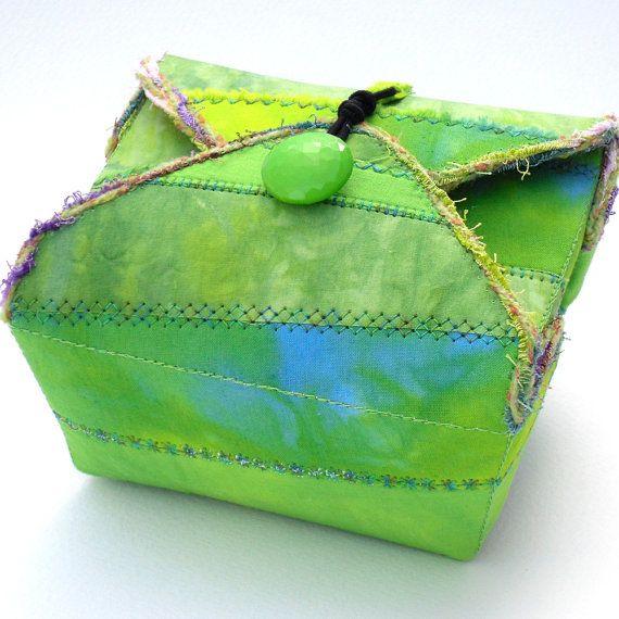 Handmade Fabric Box Bright Lime Green by PolkadotPossum on Etsy, $25.00