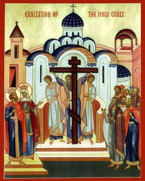 Exaltation of The Cross [3 arches, 4 arches, dome and starry pattern over the cross. Drawn curtain and 4 pillared arch.]