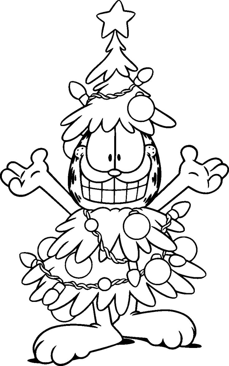 Garfield coloring printouts - Garfield Christmas Tree Costume