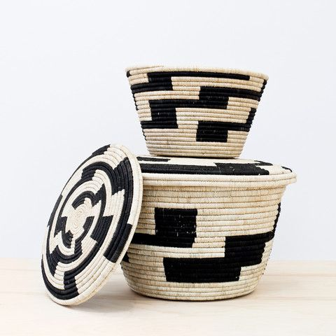 Inspired by traditional patterns of Uganda, this basket is the perfect mix of form and function. Meticulously handwoven by a cooperative of 15 women, each basket takes weeks to complete.