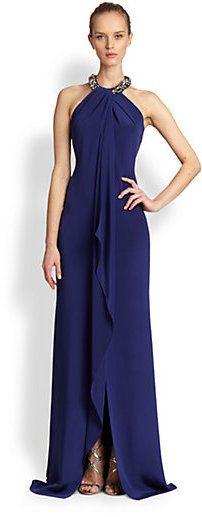 Carmen Marc Valvo Sleeveless Silk Halter Gown