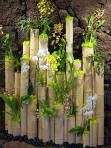 bamboo logs decoration bollea floral design gallery very interesting decoration made of reclaimed bamboo logs adorned with white phalenopsis orchid
